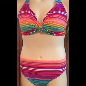 Colorful Woman's 2 piece bathing suit